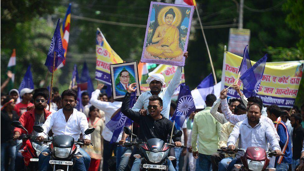 Dalit protesters on the roads in Uttar Pradesh