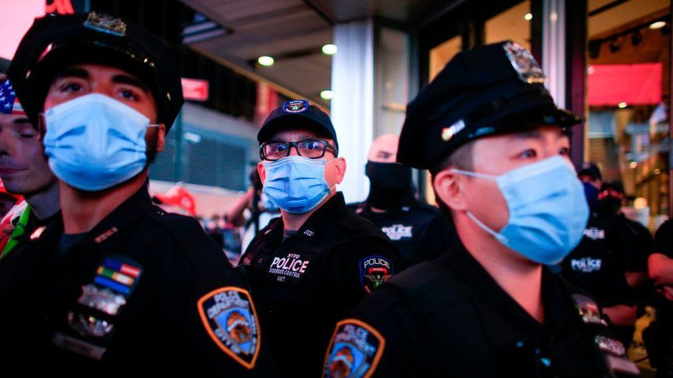 NYPD officers stand guard during a protest to demand justice for Daniel Prude, on September 3, 2020 in New York City.