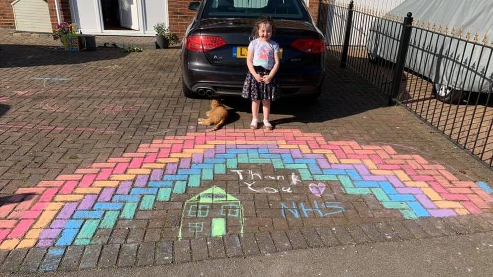 A rainbow drawn by Vicky Wells' children