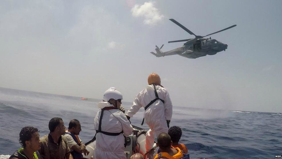 An image released by Medecins sans Frontieres showing the rescue operation - 5 August 2015