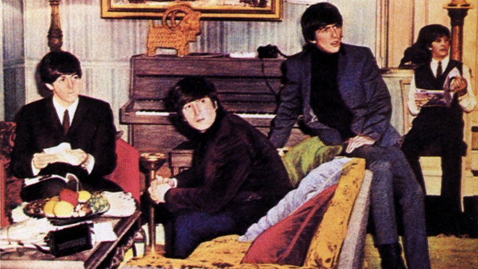The Beatles on a poster for A Hard Day's Night