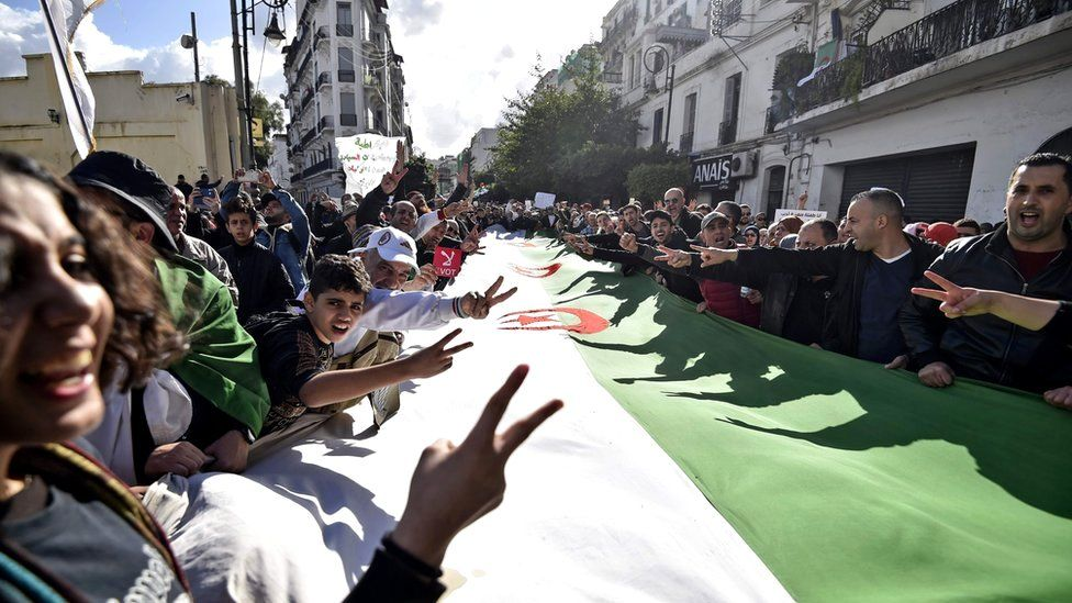 Algerian protesters take part in an anti-government demonstration in the capital Algiers on Tuesday 10 December 2019