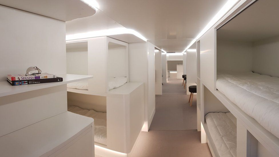Image of a possible underfloor sleeping module that Airbus is studying for the future