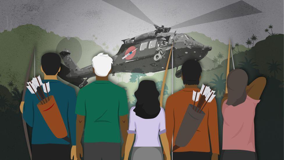 На иллюстрации показано, как коренные жители сопротивляются прибытию вертолета с вакцинами от covid-19.