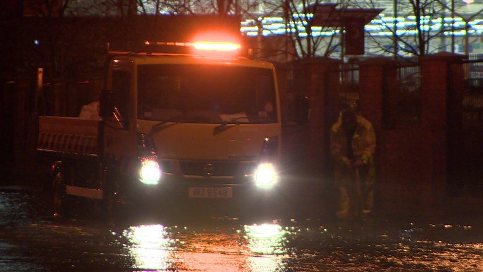 Roads Service were in attendance on the Castlereagh Road in Belfast on Friday night