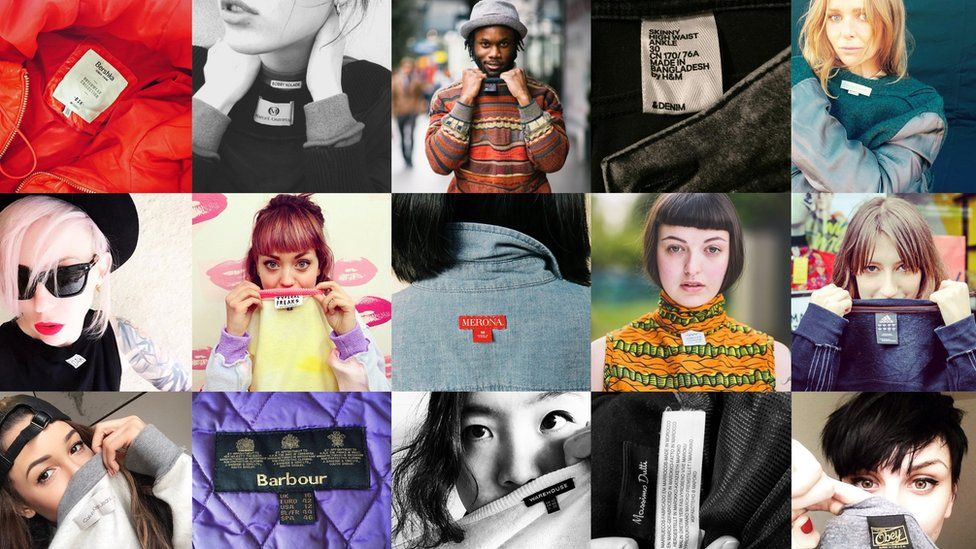 People expose their clothing labels in a collage of promotional and submitted images