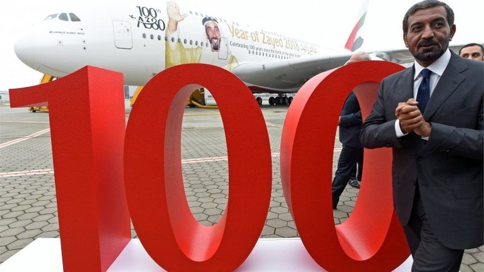 Sheikh Ahmed bin Saeed Al Maktoum, Emirates' chairman and CEO during a delivery ceremony of Emirates' 100th Airbus A380.