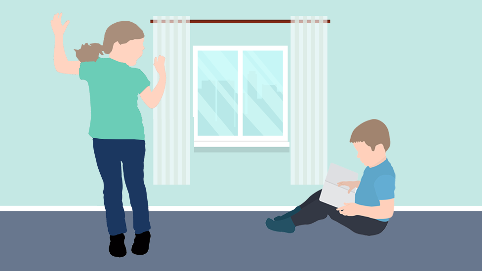 Drawing of child learning at home