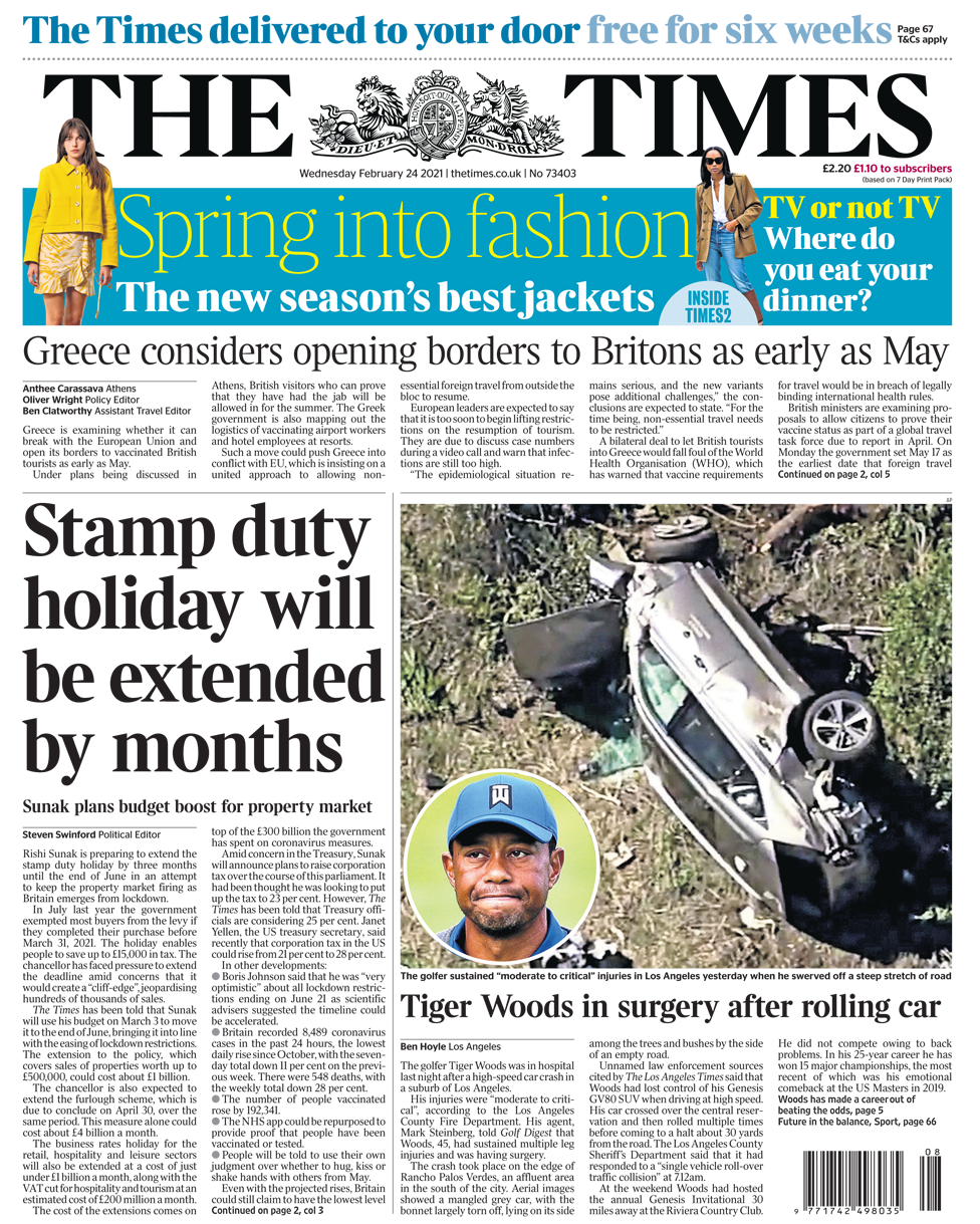 The Times front page