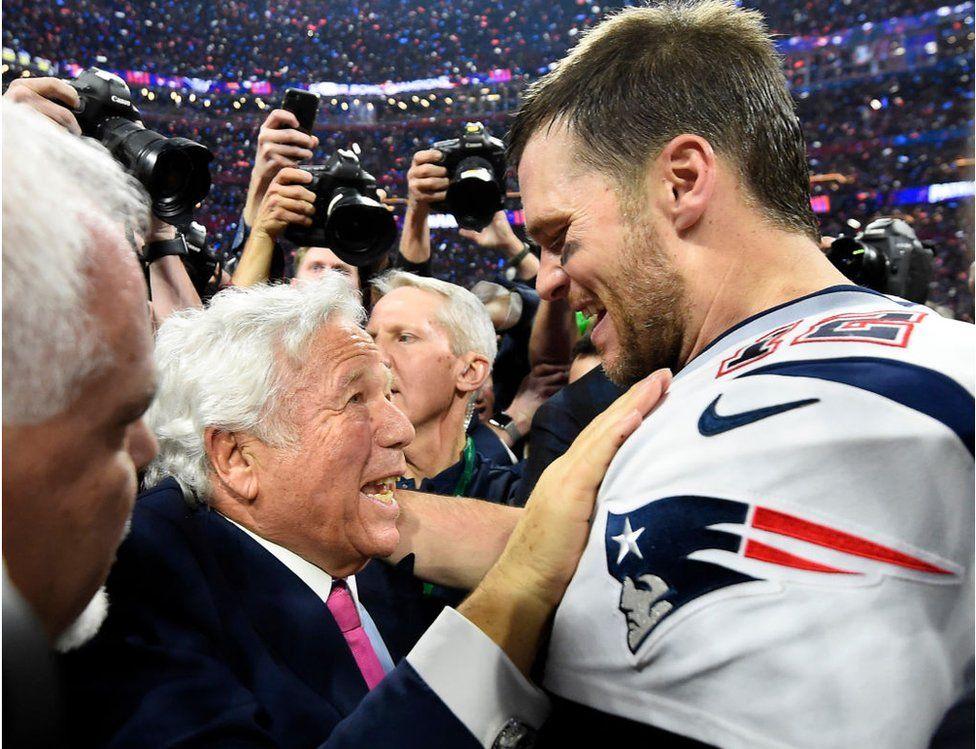 Mr Kraft with New England quarterback Tom Brady
