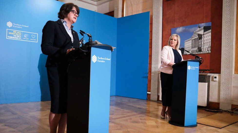 Arlene Foster and Michelle O'Neill held their first joint briefing in more than two months