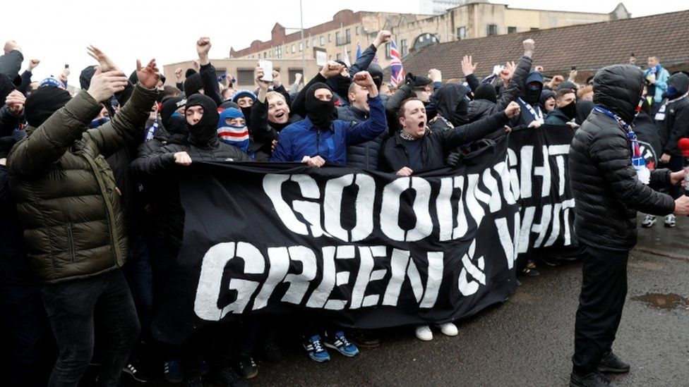 Rangers fans with banner