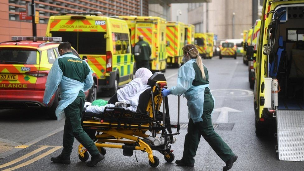 Ambulance crew at Royal London Hospital, Whitechapel