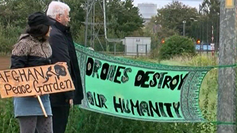 Protesters at RAF Waddington