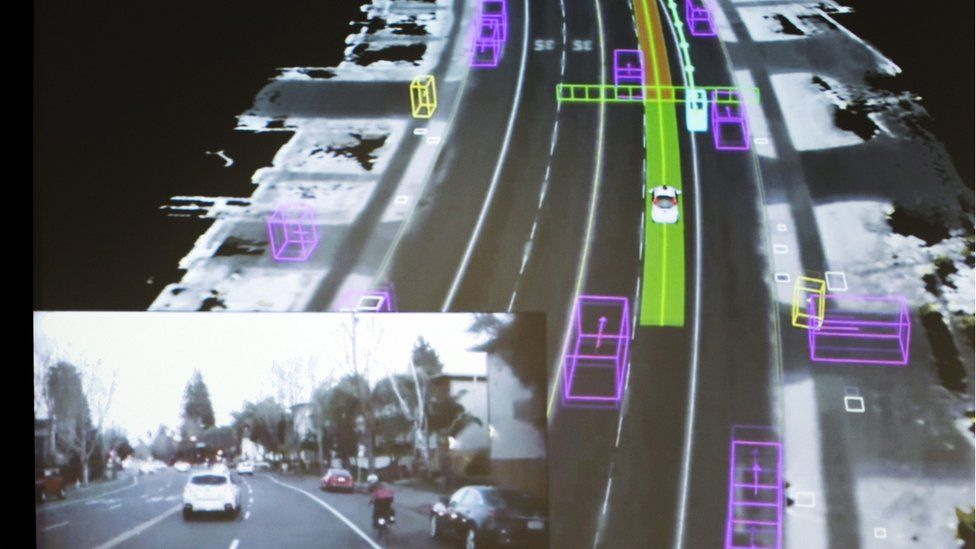 Data schematic of street scene as seen by Google self-driving car