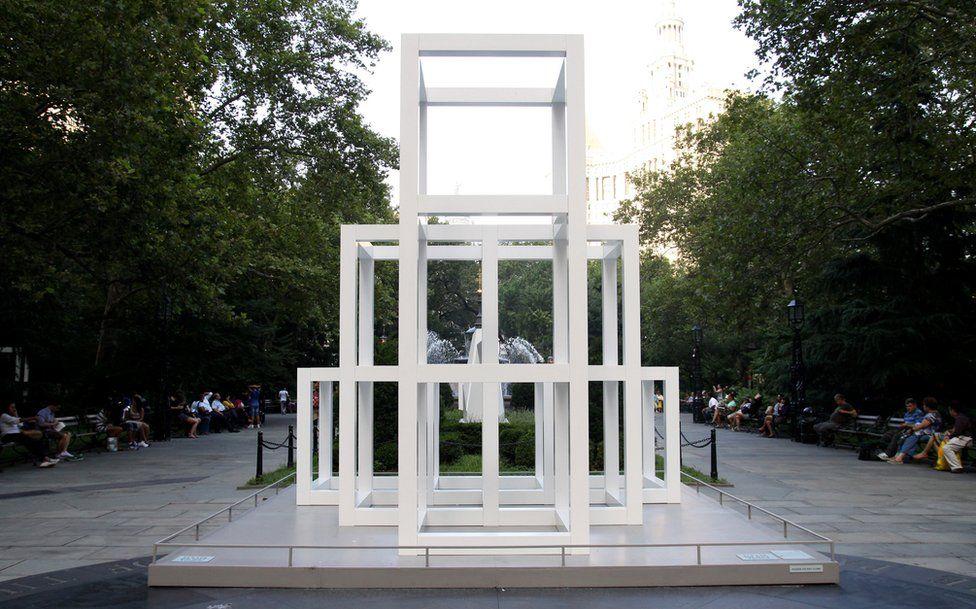 'THREE X FOUR X THREE' sculpture by conceptual artist Sol LeWitt