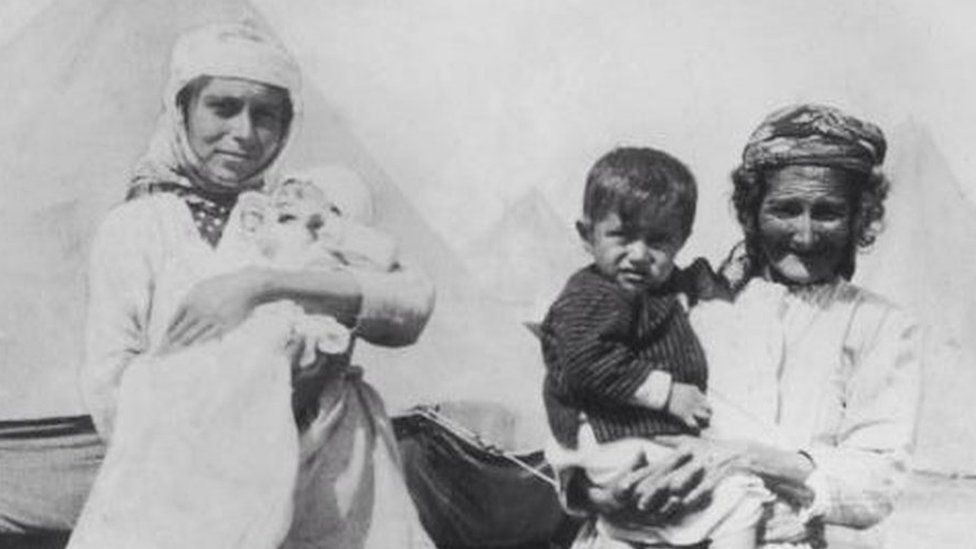 Armenian refugees at a camp in 1915
