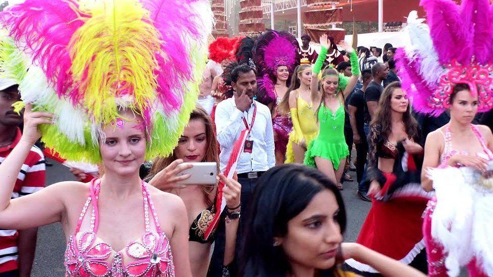 Brazilian samba dancers at the Reddy wedding