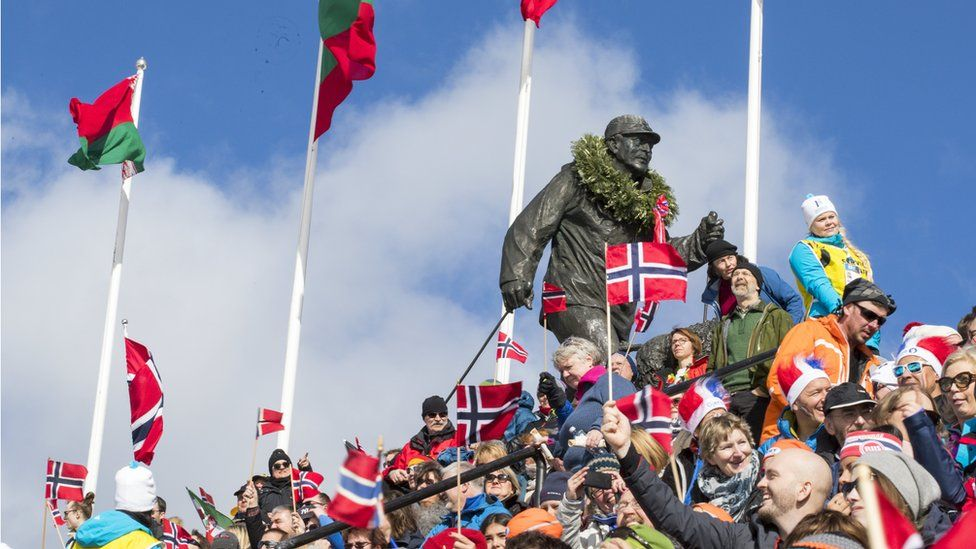 An image made available on 18 March 2017 showing audience at the World Cup biathlon Holmenkollen Ski Arena in Oslo, Norway, 18 March 2017.