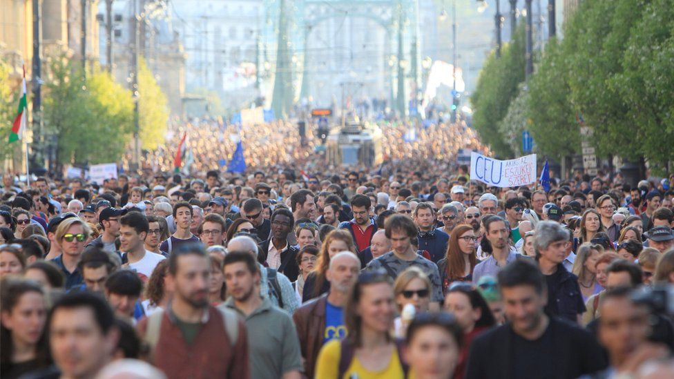 People protest against Prime Minister Viktor Orban's efforts to force a George Soros-founded university out of the country in Budapest, Hungary, April 2, 2017.
