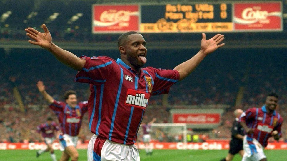 Dalian Atkinson celebrates scoring for Aston Villa against Manchester United in the 1994 League Cup final