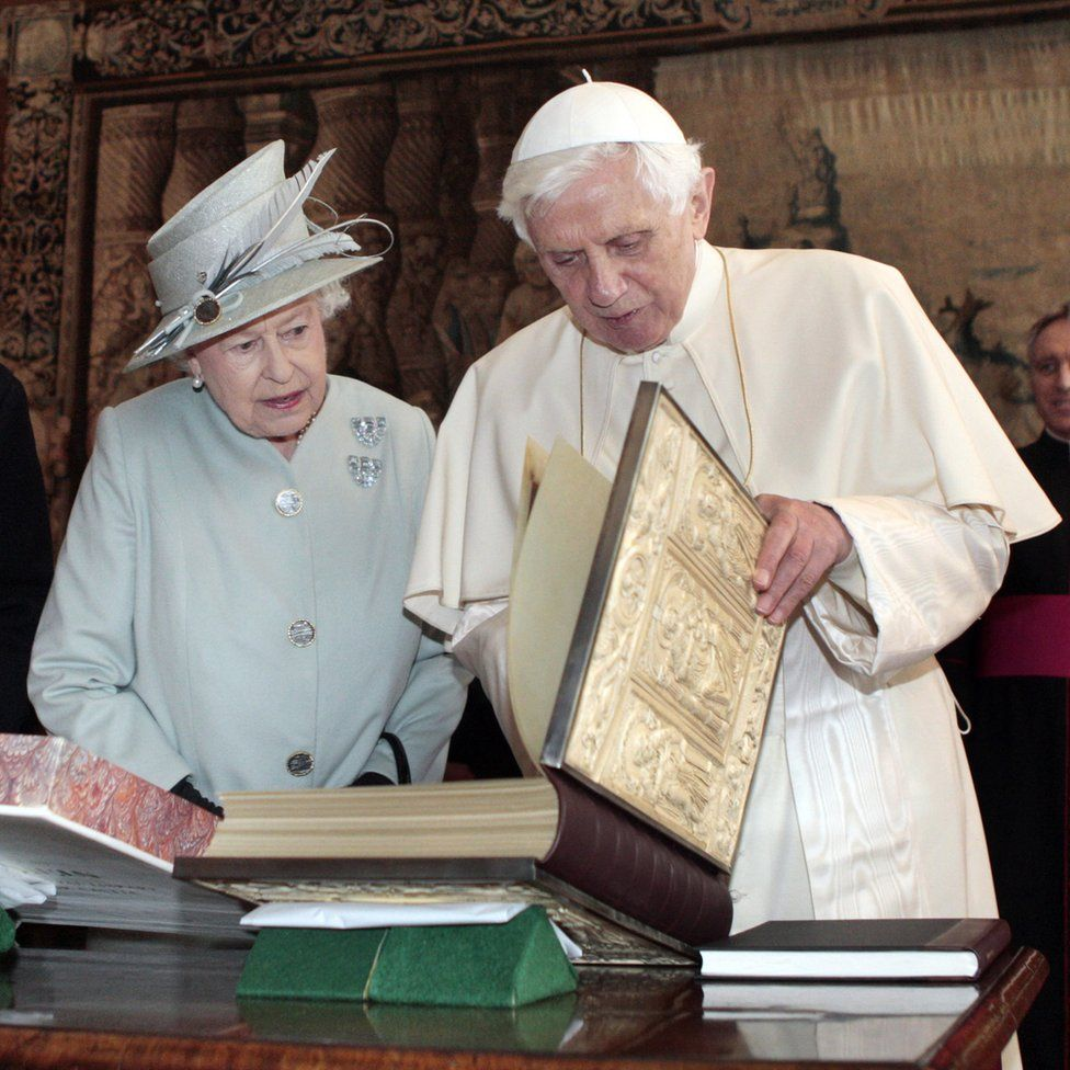 Queen Elizabeth II talking with Pope Benedict XVI n the Morning Drawing Room at the Palace of Holyroodhouse in Edinburgh during a four-day visit by the Pope to the UK.
