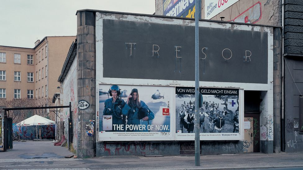 Outside Tresor nightclub, which was built in the vaults of a former department store next to Potsdammer Platz - a literal no-man's land during the partition.