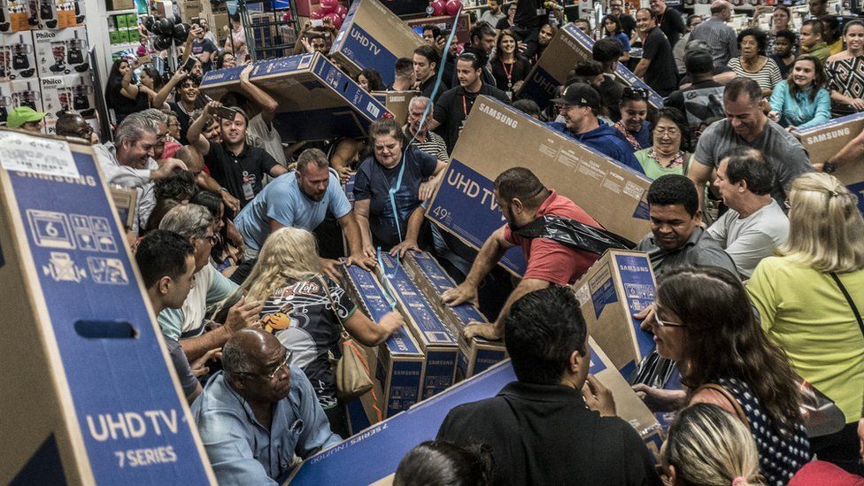 Shoppers at a Black Friday shopping event in Sao Paulo, Brazil, in November 2018