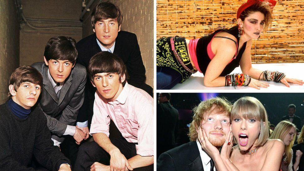 The Beatles, Madonna, Ed Sheeran and Taylor Swift