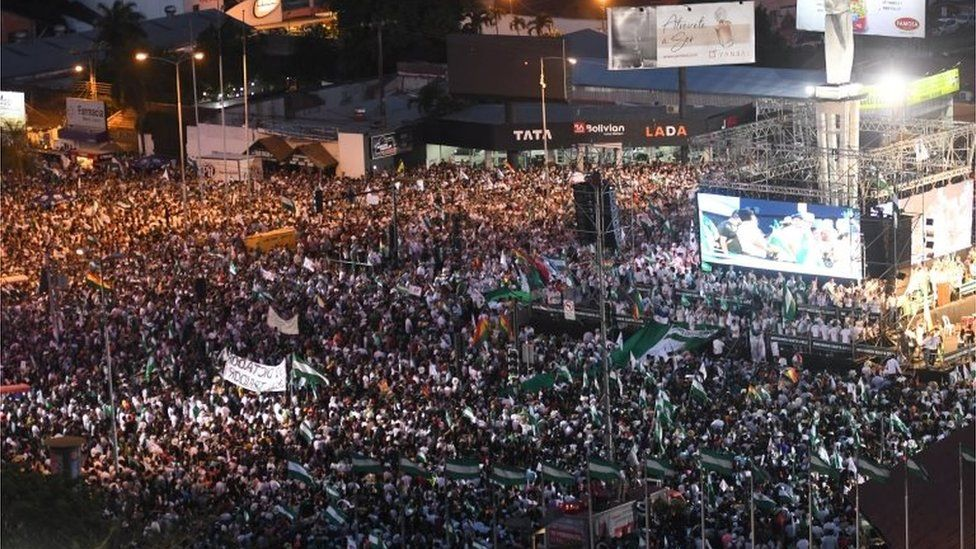 Protesters gathered in Santa Cruz on Friday to show their opposition to President Morales's policies