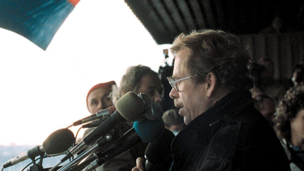 Vaclav Havel addressed a massive audience on Letna Plain on 25 November 1989, at the climax of the Prague protests