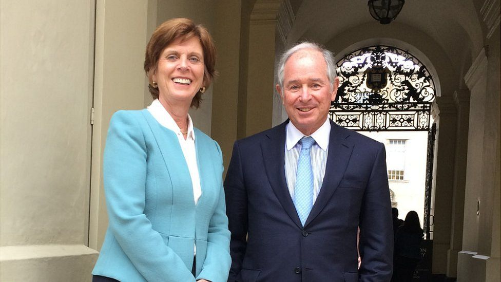 Stephen Schwarzman with the University of Oxford's vice-chancellor, Prof Louise Richardson