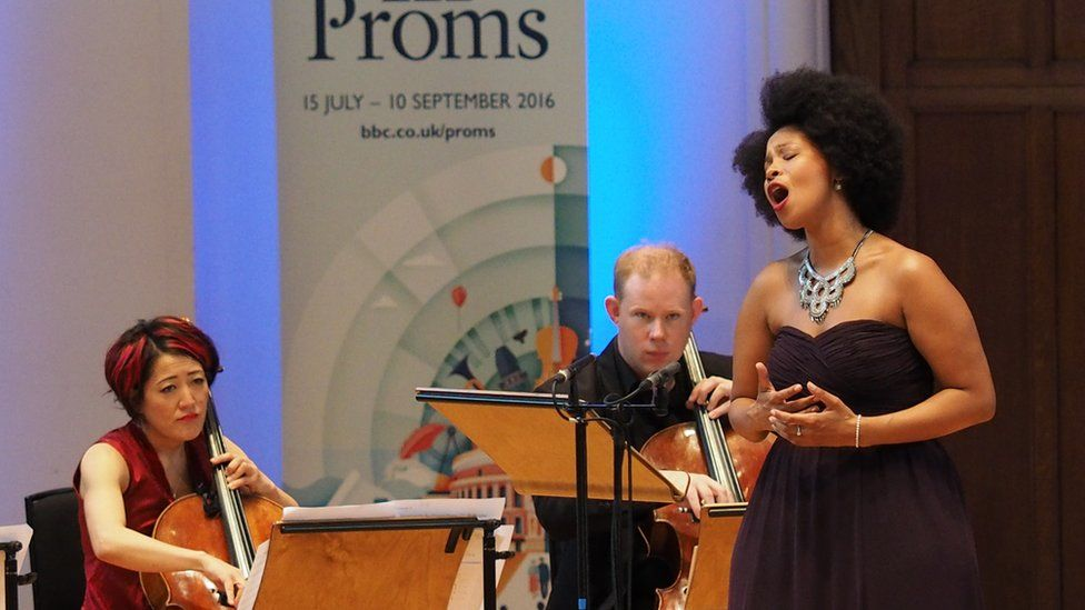 Soprano Golda Schultz performed with cellists at the BBC Proms in 2016