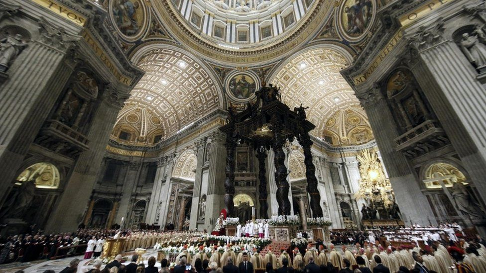 Pope Francis led the Easter Vigil mass at Saint Peter's Basilica in Vatican City
