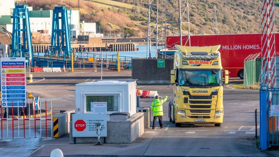 A lorry at a port in Northern Ireland