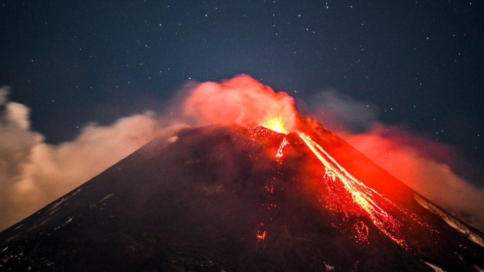 Mount Etna spewing lava