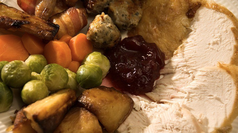 plate with veg and turkey