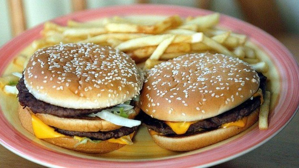 Beef burgers with fries