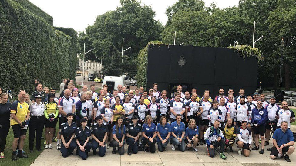Police Unity Tour at UK Police Memorial in London