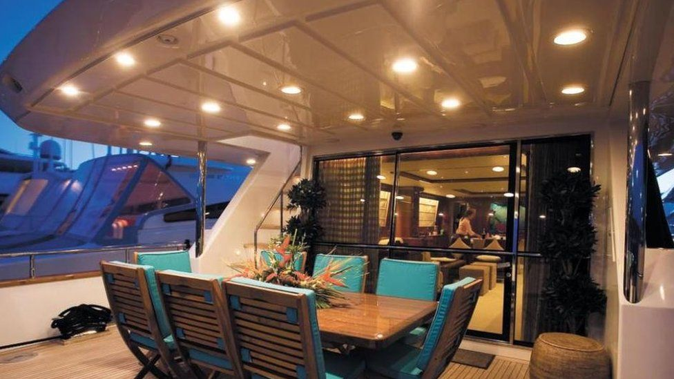 Interior of the yacht Powder Monkey, owned by David and Alison Mills