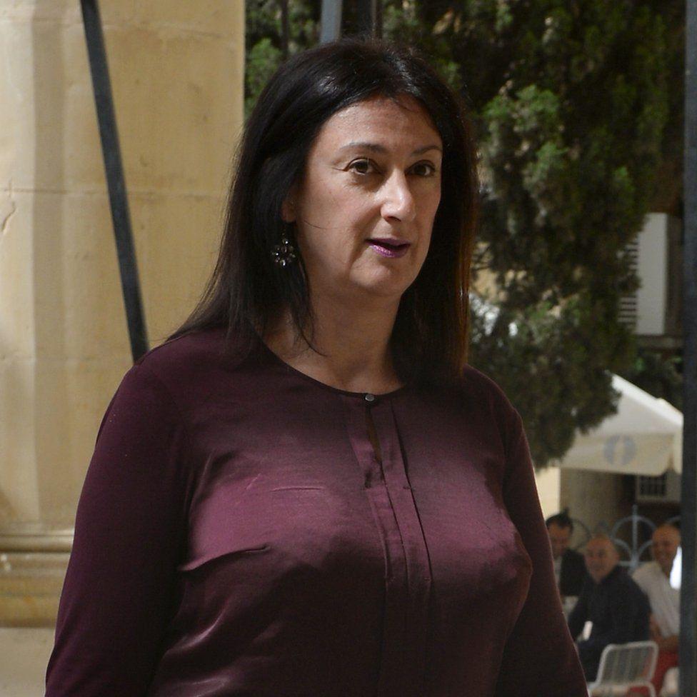 Caruana Galizia walking to the Law Court in Malta in April 2017