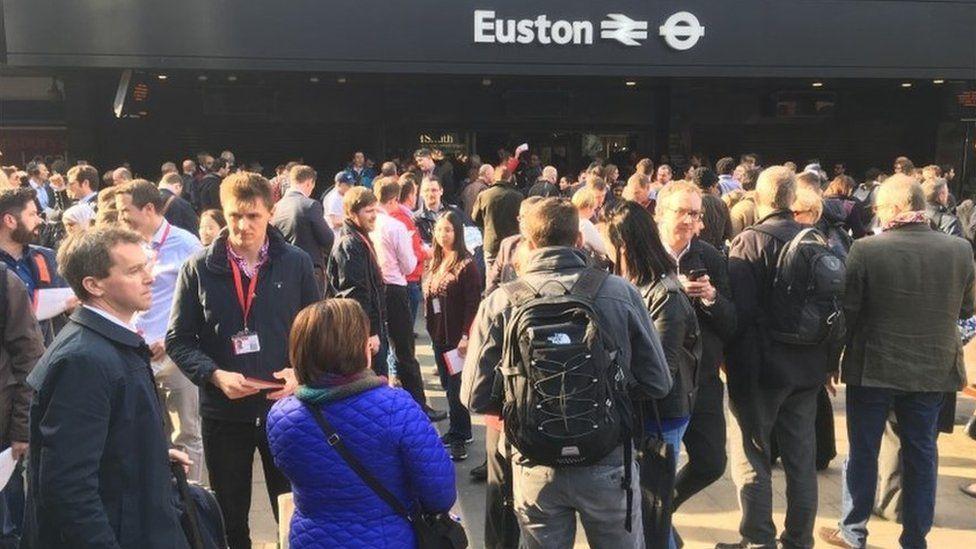 Commuters outside Euston station