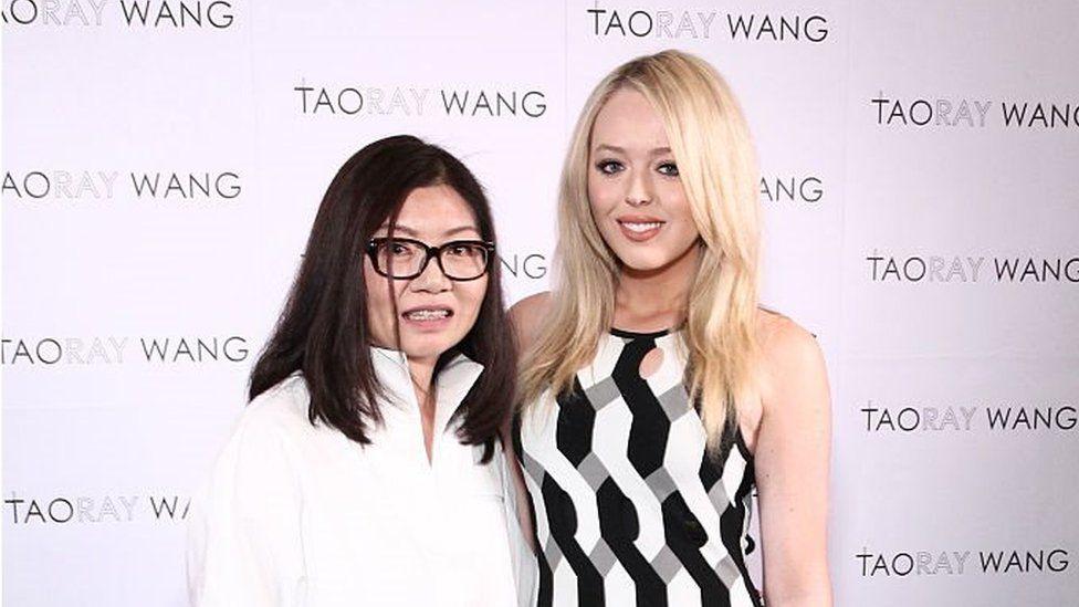 New York, USA, September 12, 2017: Taoray Wang and Tiffany Trump pose backstage at the Taoray Wang fashion show during New York Fashion Week.