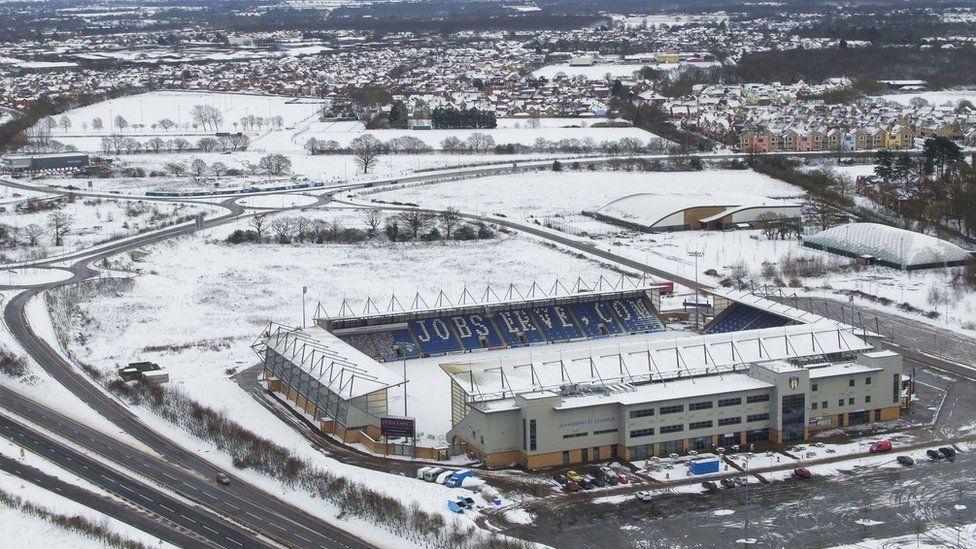 Colchester United's stadium in snow