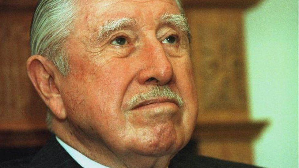 Library file picture dated 11/9/99 of Senator Augusto Pinochet.