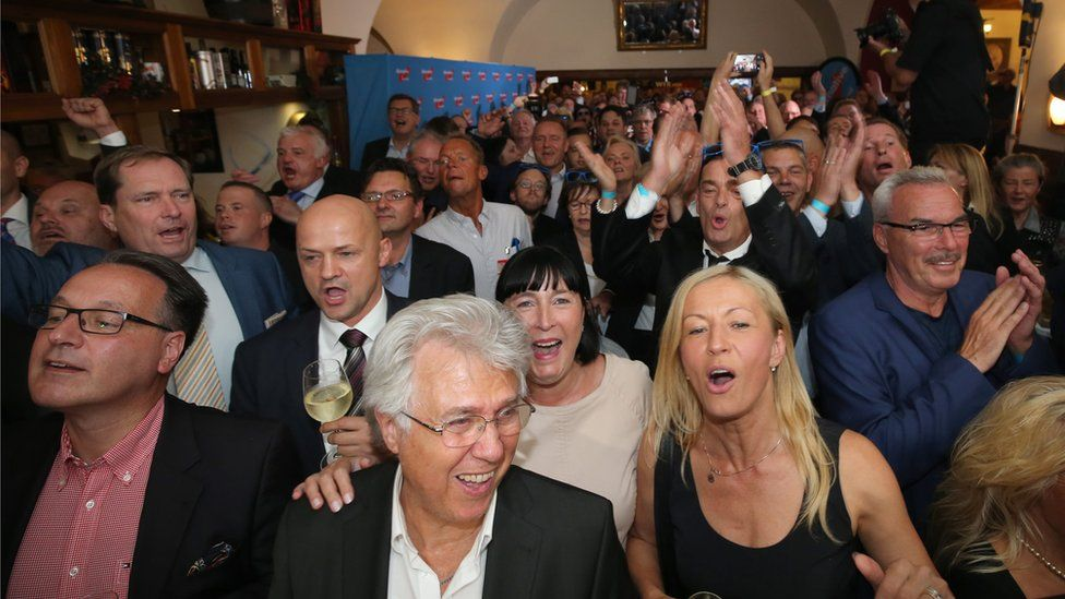 Supporters of the AfD (Alternative for Germany) celebrate at their election party in Berlin Germany, 18 September 2016.