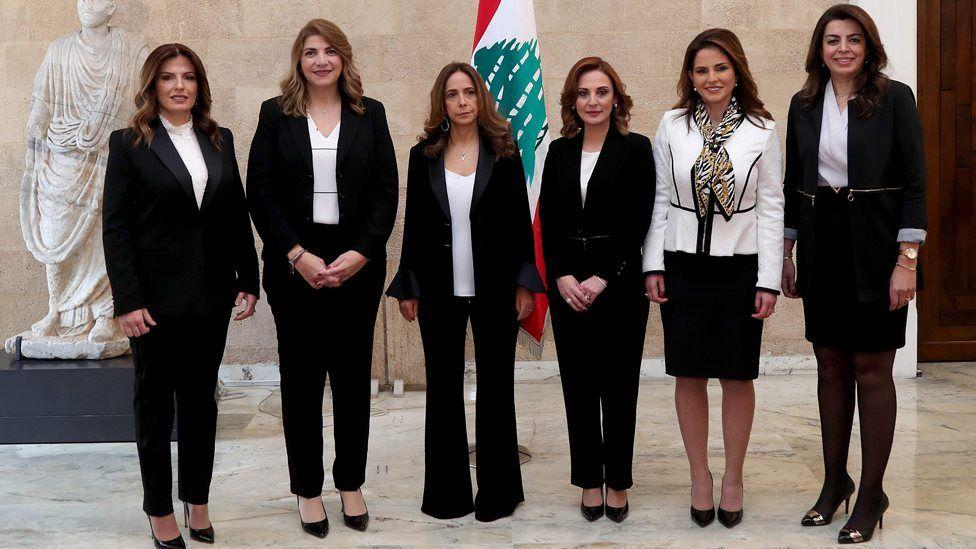 Female ministers in Lebanon's new government - (L to R) Lamia Doueihy, Marie-Claude Najm, Zeina Akar, Manal Abdel Samad, Vartine Ohanian and Ghada Shreim