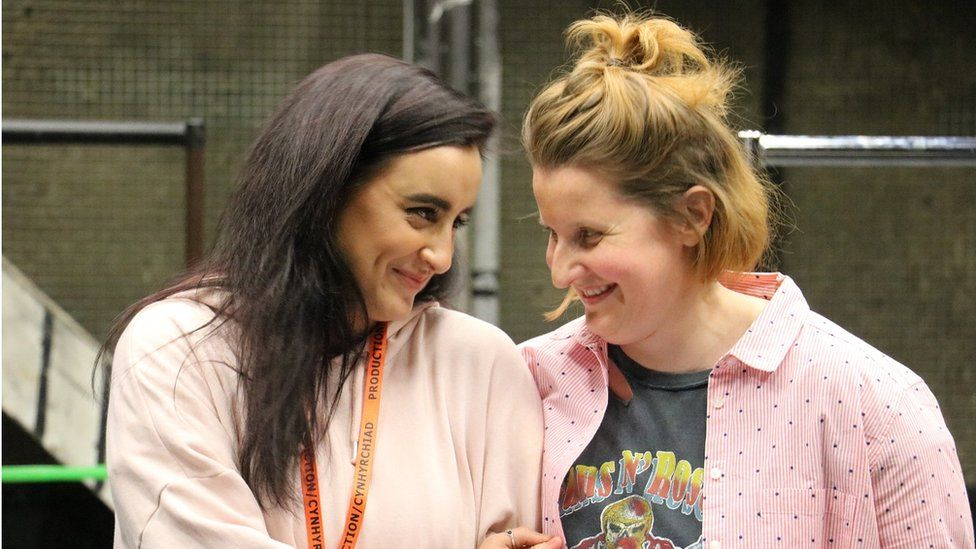 Maimuna Memon and Amy Booth-Steel in rehearsals for The Assassination of Katie Hopkins