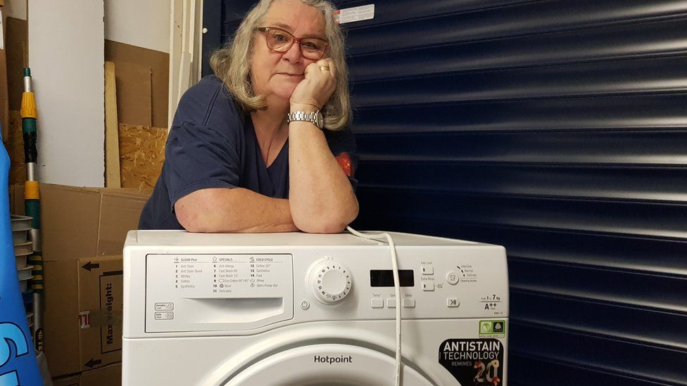 Janet McPherson with her affected machine