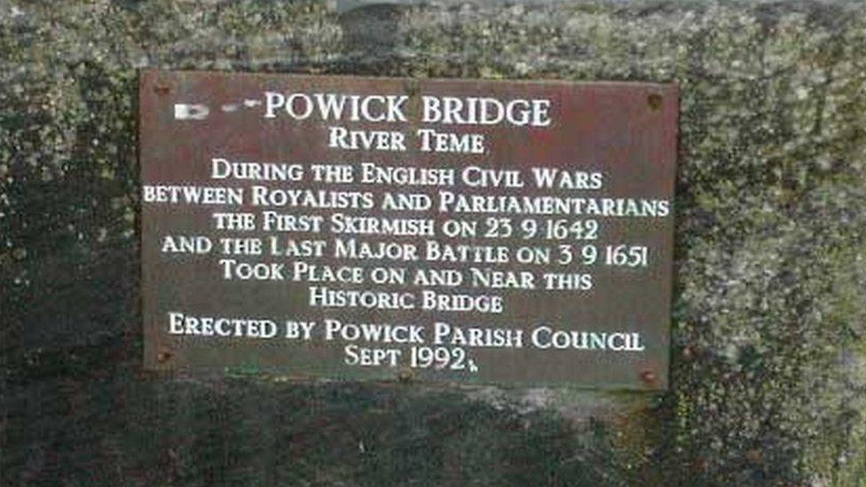 A plaque on Powick Bridge